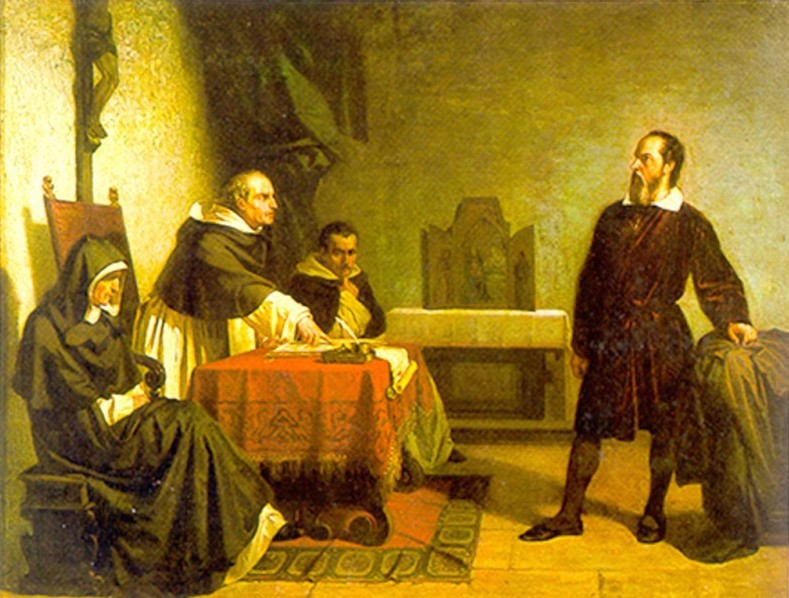 PAINTING Galileo facing the Roman Inquisition, by Christiano Banti, 1857